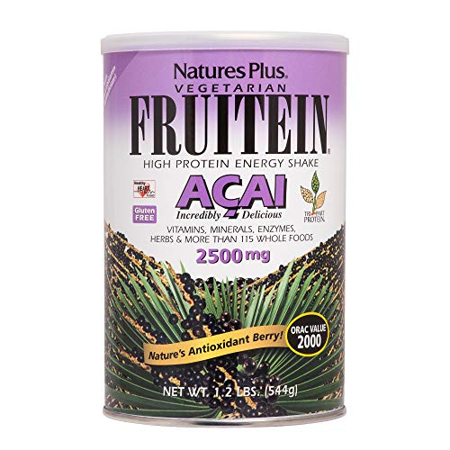 Natures Plus Fruitein Acai Shake - 1.2 lbs, Vegetarian Protein Powder - 2500 mg Acai Berry, Plant Based Meal Replacement, Antioxidant - Gluten Free - 16 Servings