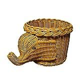 CVHOMEDECO. Elephant Design Imitation Rattan Fruit Basket Bread Basket Storage Basket Resin Wicker Artificial Plant Holder. Light Brown, 11-1/2''L