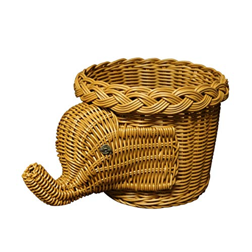 CVHOMEDECO. Elephant Design Imitation Rattan Fruit Basket Bread Basket Storage Basket Resin Wicker Artificial Plant Holder. Light Brown, 11-1/2