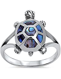Abalone Turtle Design .925 Sterling Silver Ring Sizes 5-11
