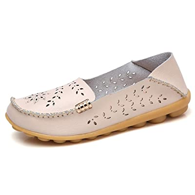zhenghewyh Women Leather Loafers Casual Driving Slip on Flat Shoes Comfortable Walking Shoes for Ladies | Loafers & Slip-Ons