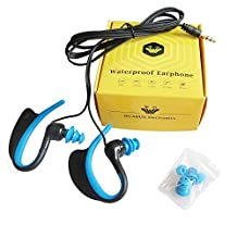 Waterproof Earphones IPX8 Grade for Swimming Running and Other Ourdoor Sport In-Ear Headphones – Noise Isolating Earing hanging Headset (003P Blue)