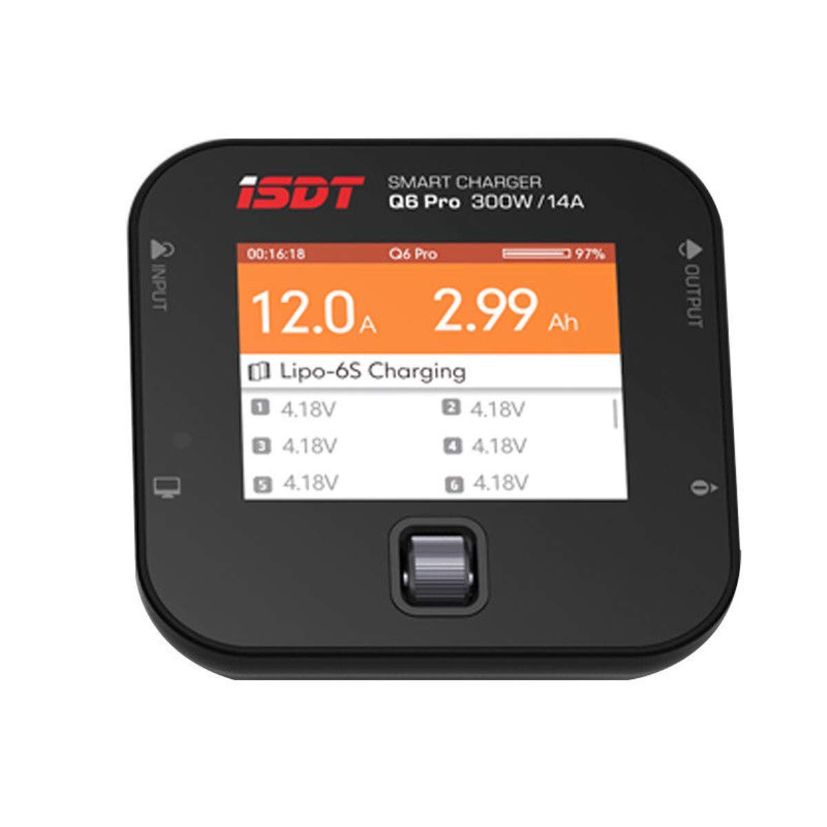 ISDT Q6 Pro Battgo Lipo Battery Charger/Discharger, Balance Charger Discharger 15A 300W AC/DC 2-6S LCD Display Digital Smart Battery Balance Charger Li-Po Li-Hv Li-Ion Li-Fe NiMH Ni-Cd Pb
