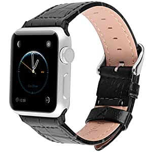 2 Colors for Apple Watch Bands 42mm, Fullmosa Bamboo Calf Leather Replacement Band/Strap with Stainless Steel Clasp for Apple iWatch Series 1 2 3 Sport and Edition Versions 2015 2016 2017,Black