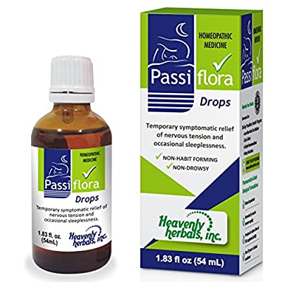 Passiflora Drops – Homeopathic Herbal Supplement Remedy | Passiflora incarnata -Passionflower Liquid Drops – Sleep Aid and Nervous System Relief - 1.83 fl. oz by Heavenly Herbals, Inc.