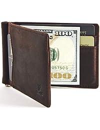 New Slim Wallet with Money Clip Finest Genuine Leather RFID Blocking Minimalist Bifold for Men