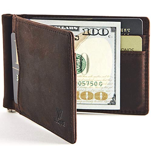 YBONNE New Slim Wallet with Money Clip Finest Genuine Leather RFID Blocking Minimalist Men's Bifold