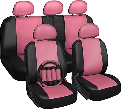Leather Pink Black Auto Seat Covers Set - Airbag - Universal Fit for Car, Truck, or SUV - Steering Wheel Cover (Pink Leather Finish)