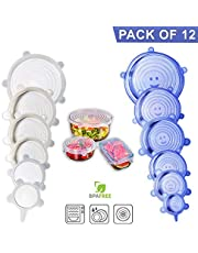 Silicone Stretch Lids, 6 Pack – Food Storage Container Cover for Bowl, Mugs, Pots, Cans, Cups, Jar – Reusable Food Hugger Wrap – Durable & Expandable to Fit Most Sizes & Shapes, BPA Free Lid Silicone …