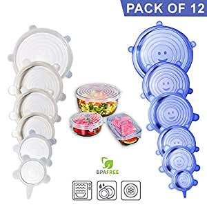 Silicone Stretch Lids, 12 Pack – Food Storage Container Cover for Bowl, Mugs, Pots, Cans, Cups, Jar – Reusable Food Hugger Wrap – Durable & Expandable to Fit Most Sizes & Shapes, BPA Free Lid Silicone