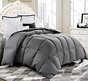 ROSECOSE Luxurious Medium Weight Goose Down Comforter Duvet Insert All Seasons Hypo-allergenic 1200 Thread Count 750+ Fill Power 100% Cotton Shell Down Proof With Tabs Gray
