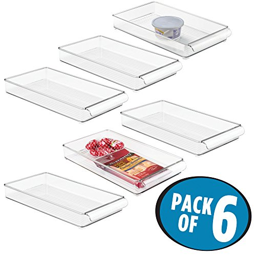mDesign Slim Stackable Plastic Food Storage Container Tray with Handle - for Kitchen, Pantry, Cabinet, Fridge/Freezer - Organizer for Snacks, Produce, Vegetables - BPA Free, Food Safe - 6 Pack, Clear