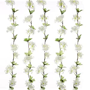 UUPP 2Pcs 7.2FT Artificial Cherry Blossom Flower Garland Silk Fake Flower Hanging Vine for Home Hotel Office Garden Wedding Party Outside Decoration, White 1