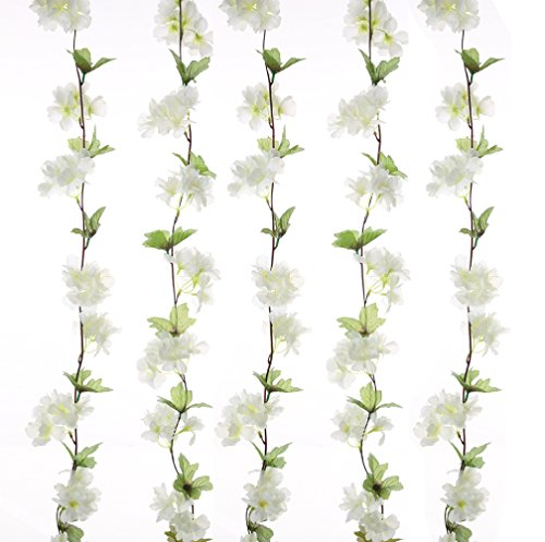 UUPP 2Pcs 7.2FT Artificial Cherry Blossom Flower Garland Silk Fake Flower Hanging Vine for Home Hotel Office Garden Wedding Party Outside Decoration, White
