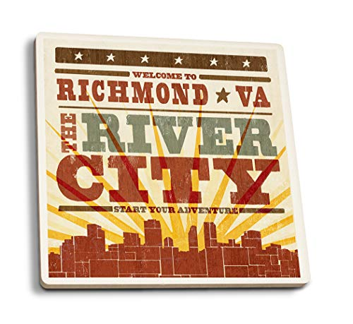 - Lantern Press Richmond, Virginia - Skyline and Sunburst Screenprint Style (Set of 4 Ceramic Coasters - Cork-Backed, Absorbent)