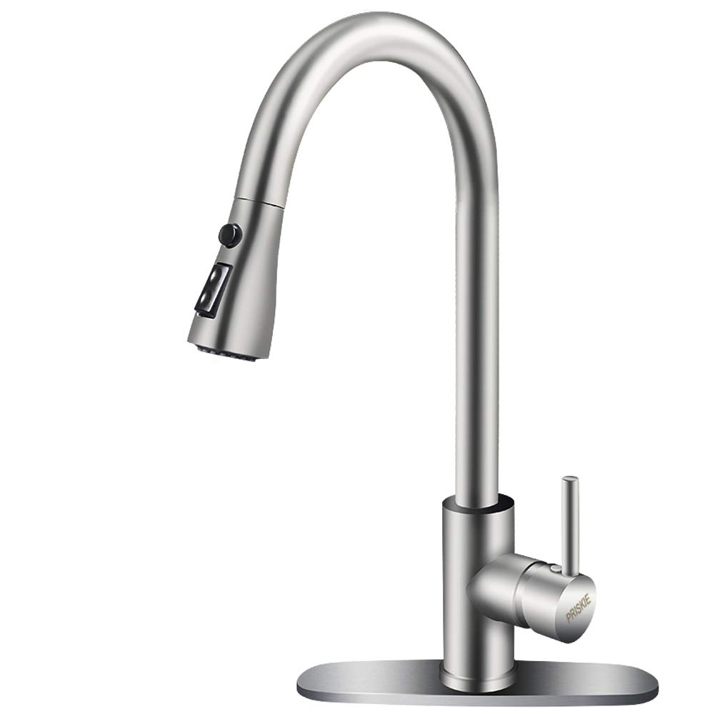Copper Kitchen Sink Faucet Brushed Nickel Stainless High Tall Single Handle Swivel Arc Curved Level Steel Brass 3 Hole Faucets With Pull Out Down Water Sprayer Hose For Kitchen Sink