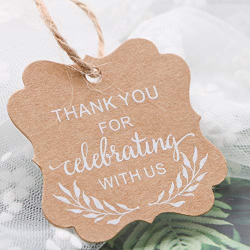 Gift Tags, Thank You for Celebrating with Us Gift Tags with Twine for Wedding, Anniversary, Graduation, Communion Party Favors ()