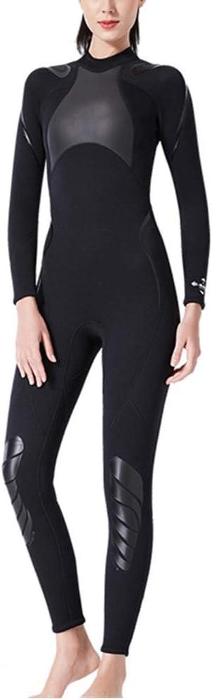 ウェットスーツ 女性用ネオプレンウェットスーツフルウェットスーツ3 mm水泳UV保護サーフィンウェットスーツサーフィンカヤックウォータースポーツブラックダイビングシュノーケリング 快適さと利便性のために (色 : 黒, Size : M) 黒 Medium