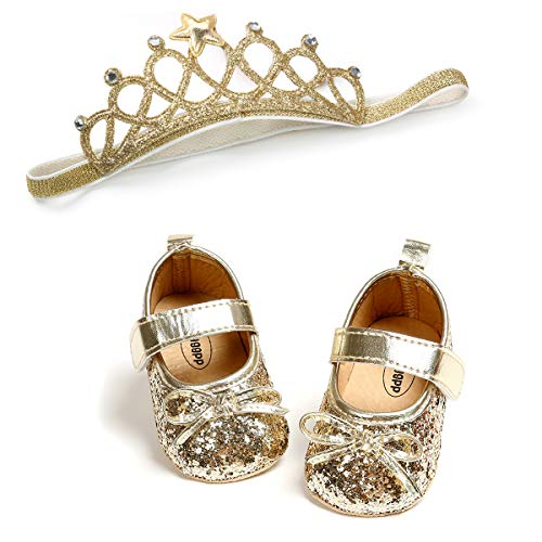 Baby Girls Mary Jane Flats with Bowknot Soft Sole Non-Slip Toddler Infant First Walker Princess Dress Shoes
