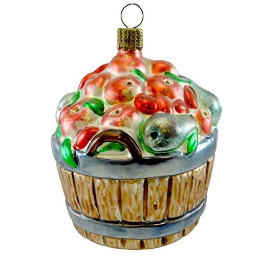Larry Fraga FRUIT BASKET Blown Glass Ornament Apples Pears Cherries ()
