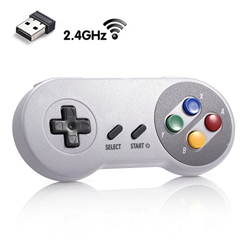 LUXMO SNES Wireless USB Controller for Super NES Classic Edition, Rechargeable 2.4 GHz SNES Retro USB Game Pad Joysticks Joypad for Windows PC MAC Linux Genesis Raspberry Pi Retropie