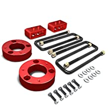 """Ford F150 4Pcs Red 2.5"""" Front 2"""" Rear Leveling Lift Kit Spacers / Blocks + U-Bolts"""