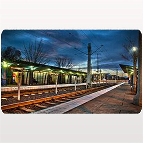 - Custom Welcome Doormat Light Rail Station Sunset Rails Lights Buildings Landmarks Transportation Subway Floor Entrance Rug 18X30 Inches Indoor/Outdoor/Front Door Bathroom Mats Rubber Non Slip