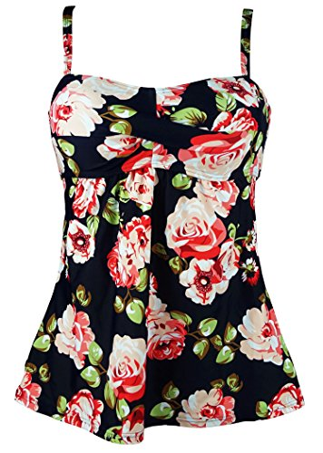 Cocoship Pink Rose Floral & Green Leaves Vintage Ruched Twist Swim Top Retro Modest Skirted Tankinis Cover Up - With Top Flat Twist