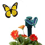 Fluttering Solar Battery Powered Butterfly with Ground Spike - Monarch Yellow