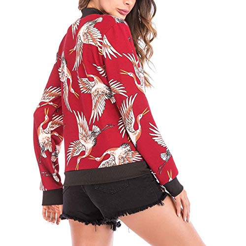 larga la mujeres de de las Invierno tamaño Top Graphic ZFFde de Uniforme de frontal Red manga béisbol XXL Cremallera Flying Crane Color chaqueta pvA6UxAzq