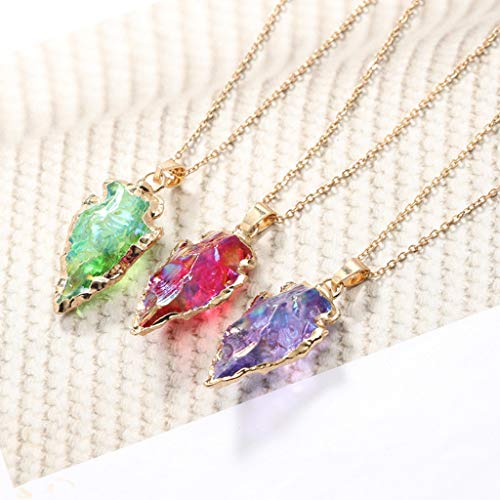 Naturel Dames Irrégulière Brillant Coloré Cristal Pingtr Sept Triangle Pierre Collier Unique Couleurs Bijoux Pendentif Mode Jaune qFPgnxCwEf