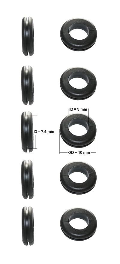 0154 Durchgangstüllen Kabeldurchführung Kabeldurchlass 10mm schwarz 5 Stück