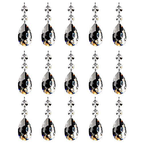 (SunAngel 15Pcs Chandelier Crystals, Clear Teardrop Crystal Chandelier Pendants Parts Beads, Hanging Crystals for Chandeliers (2PCS Octagonal Bead + Mesh Pendant))