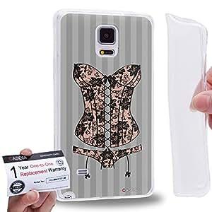 Case88 [Samsung Galaxy Note 4] Gel TPU Phone case & Warranty Card - Art Fashion Beige Lace Corset Art2064