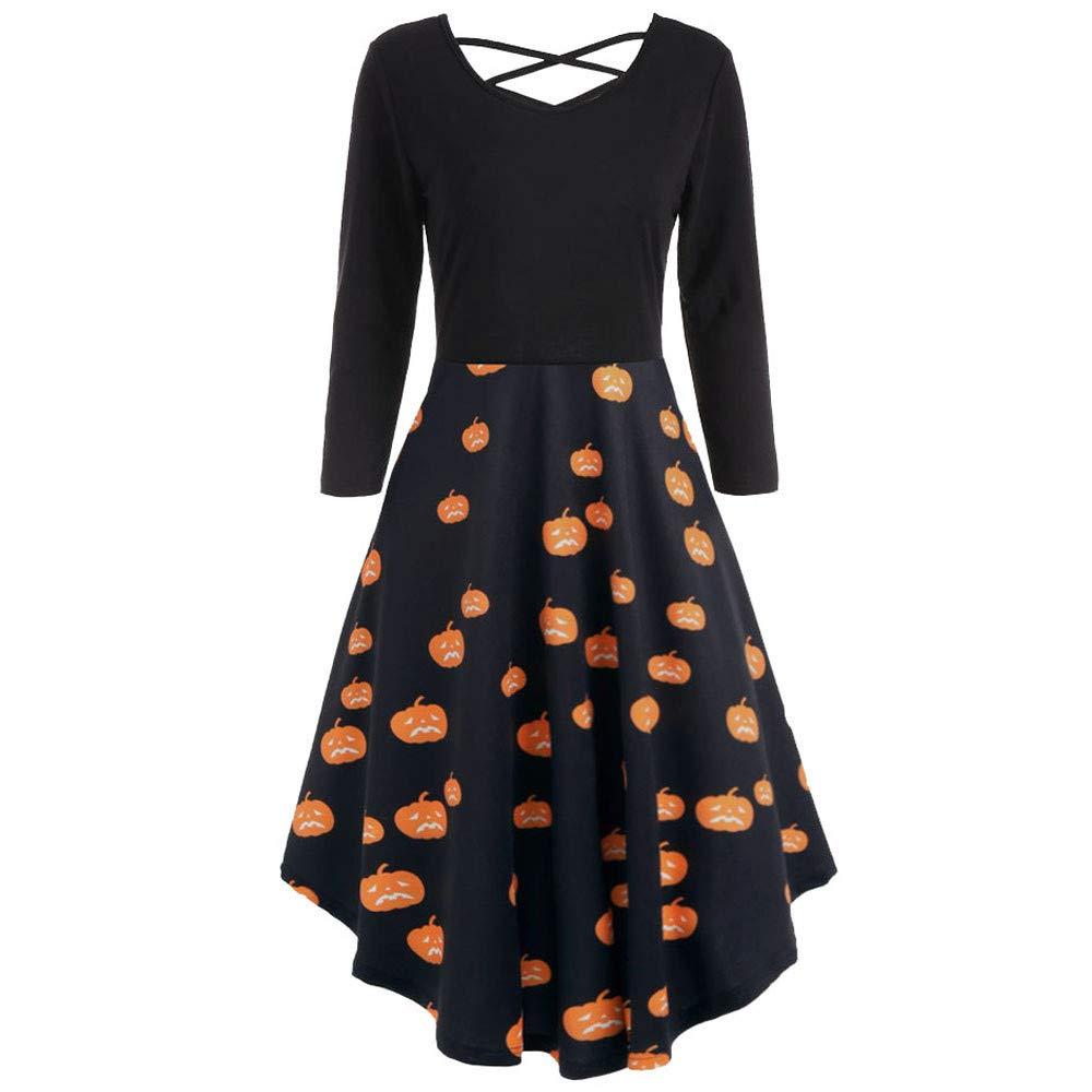Big Promotions Women's Halloween Dress ODGear Vintage Retro Lace Sleeveless Mesh Pumpkin Printed Swing Party Dress (S, Orange2)