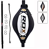 RDX Maya Hide Leather Boxing Ball Double End Dodge Speed Bag Punching MMA Training Workout Floor to Ceiling Rope