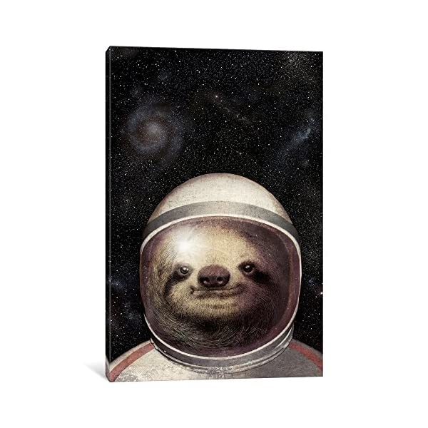 Icanvasart Icanvas Space Sloth Gallery Wrapped Canvas Art Print By Eric Fan, 12&Quot; X 8&Quot; -