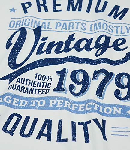 Per Di To Aged Perfection Bianco Vintage Year 1979 Anni Compleanno Blu 40 Regalo Uomo Maglietta Da 8TxRSgY