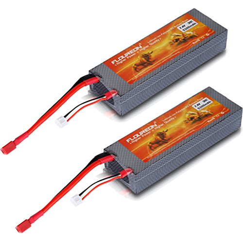 30C 2S 7.4V 5200mAh Lipo Battery Hard Case for RC Quadcopter Drone and FPV with Dean-Style T Connector 2 Packs (5.51x1.89x0.98 Inch)