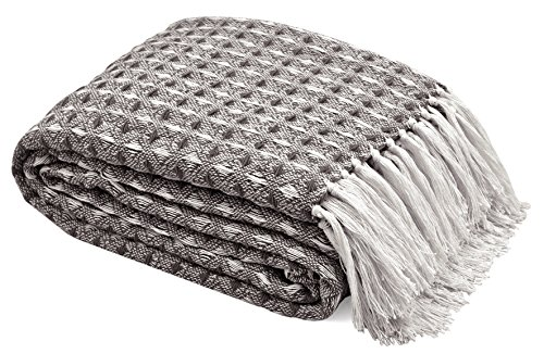 TreeWool, 100% Soft Premium Cotton Throw with Fringes Light Weight and Warm (60 x 80 Inches, Waffle Weave, Grey/White)