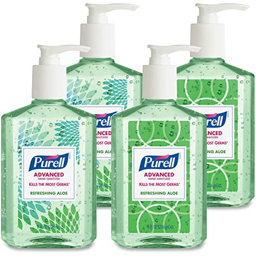 PURELL Advanced Hand Sanitizer Soothing Gel, Fresh scent, with Aloe and Vitamin E , 8 Fl Oz Pump Bottle (Pack of 4)