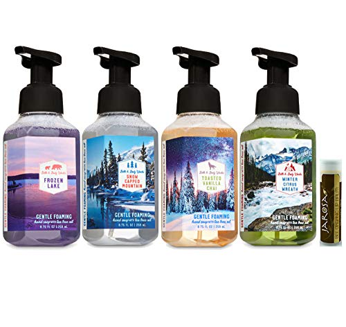 Bath & Body Works FROZEN LAKE, SNOW CAPPED MOUNTAIN, TOASTED VANILLA CHAI & WINTER CITRUS WREATH Set of 4 Gentle Foaming Hand Soap with a Jarosa Bee Organic Chocolate Bliss Lip Balm