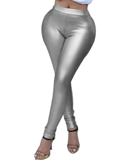 85fecce9f1 Tootless-Women Large Size Nightclub Satin Faux Leather Ankle Legging As  Picture S