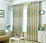 TIYANA Home Decoration Colorful Leaf Print Cloth Fabric Curtain Metal Grommet Top Floral Pattern Semi Blackout Curtain Thermal Insulated Window Treatment for Kids Room Bedroom 1 Piece 75x96 inch