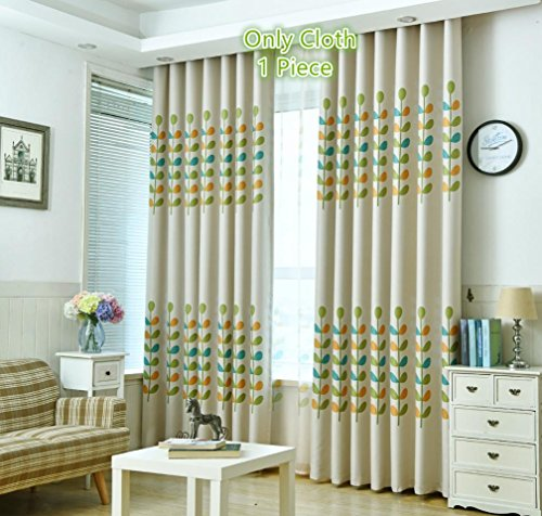 TIYANA Home Decoration Colorful Leaf Print Cloth Fabric Curtain Metal Grommet Top Floral Pattern Semi Blackout Curtain Thermal Insulated Window Treatment for Kids Room Bedroom 1 Piece 75×96 inch Review