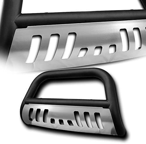 4X4TAG Premium Quality Matte Black Powder Coated Carbon Steel Bull Bar w//Brushed Skid Plate Fits Honda Pilot 2003-2008 Bumper Grille Guard with Skid Plate and Optional Light Holes