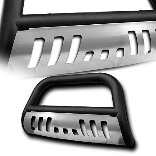 4X4TAG Premium Quality Matte Black Powder Coated Carbon Steel Bull Bar w/Brushed Skid Plate Fits Ford F150 1997-2004 (Bumper Grille Guard with Skid Plate and Optional Light Holes)