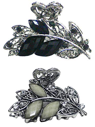 (Bella Set of 2 Metal Jaw Clips Claw Clip Hair Styling Hair Clips U86420-1521-2AlmostBlkOffWht)