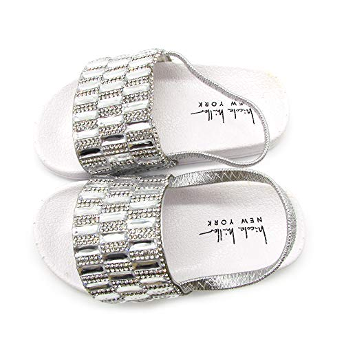 Nicole Miller New York Toddler and Little Girls Rhinestone Cluster Slide Sandles- Size 6- Age 18-24 Months White -