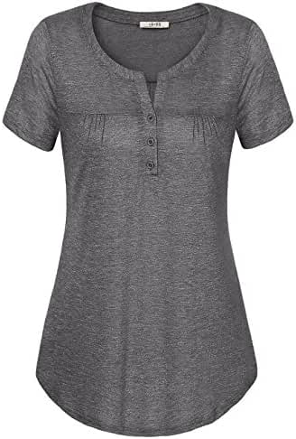 Vivilli Womens V Neck Short Sleeve Shirts Casual Tee Blouse Tops